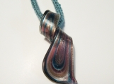 Teal glass ribbon pendant necklace