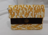 Wallet, Small, Minimalist Wallet, For Her, Folding Wallet, Yellow Wallet, Folding, Gift For Her, Stripes. Snap Wallet