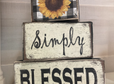 Handmade Simply Blessed Wood Block Word