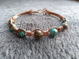 Turquoise and copper bangle bracelet