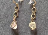 Citrine and bronzetone dangle chain earrings,citrine stone earrings,dangle gemstone earrings