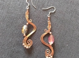 Copper harp earrings with faceted glass bead,copper wire earrings