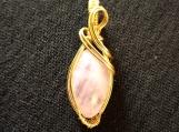Rose Quartz Marquise cut goldtone pendant