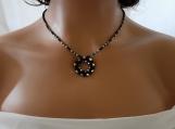 Black Silver Blue Crystal Beadwork Choker Pendant Necklace