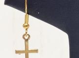 Earrings, gold earrings, cross earrings