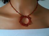 Swarovski Fire Opal Crystal Beadwork Choker Pendant Necklace