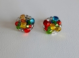 Rainbow Petite Handmade Beaded Stainless Steel Stud Earrings