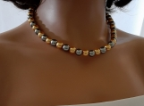 Silver And Gold Glass Pearl Necklace
