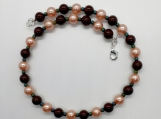 Swarovski Crystal Pearl Necklace With Rainbow Teal Bead Accents