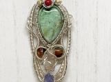Turquoise Pendant, Handmade pendant, wire wrap