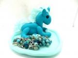 Aqua unicorn with girls cha cha bracelet