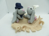 Bride and groom bunny cake topper