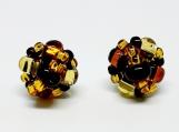 Brown Multi Petite Handmade Beaded Stainless Steel Stud Earrings