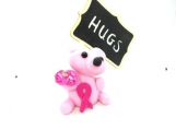 Pink bear with breast cancer ribbon