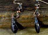 Black Spinel Smokey Quartz Earth Elements Handmade Earring