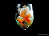 Goldfish Wine Glass, Hand Painted, Dishwasher Safe