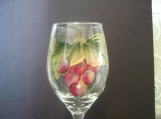 Hand Painted Grapes Wine Glass, Dishwasher Safe