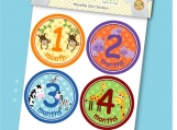 Monthly Onesie Stickers - Zoo Animals Unisex for Boys and Girls