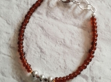 Brown Bead Bracelet With Silver Focal For Men