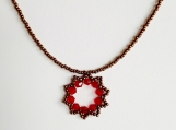 Red And Gold Beaded Flower Star Pendant Necklace