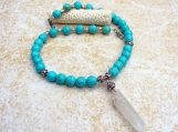 Turquoise Color Dyed Howlite Raw Quartz Crystal Necklace
