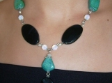 Black agate and tourqoise necklace