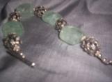 Aquamarine nugget and bali silver bracelet
