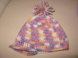 Cutie Pink and Purple Newsgirl Crochet Hat