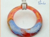 on SALE! Periwinkle/Peach/Amber/Pink one of a kind pendant!