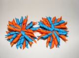 Turquoise Blue and Orange Korker Ribbons Hair Bows - Set of 2