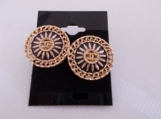 Aztec Design Chanel Stud Button Earrings made from  buttons