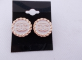 Gold and White Chanel stud button earrings upcycled buttons