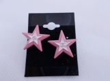 Lovely Chanel Pink White stud button earrings upcycled buttons