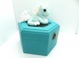 Pretty pale blue unicorn on a jewelry box