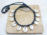 Cowrie Shell Necklace Matte Ghana Shells Adjustable Tie
