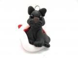 Black cat in Santa's hat ornament