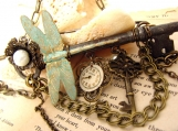 Enigma Steampunk Key Brooch Necklace - Bohemian Collection