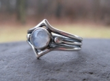 New Moon . sculpted in sterling silver with rainbow moonstone . made to order in whole, half or quarter sizes
