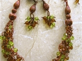 Bohemian Topaz Crochet Copper Necklace and Earrings
