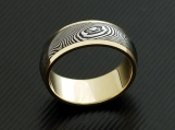 Genuine stainless Damascus Steel 18K Yellow Gold Mens Ring
