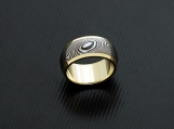 Genuine Stainless Damascus Steel 18K Yellow Gold Women Ring