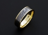 Mens Ring - Genuine Stainless Damascus Steel 18K Yellow Gold