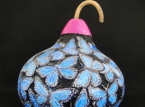 Beautiful Hand-Carved Gourd, Blue Butterflies