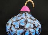 Beautiful Hand-Carved Gourd, Blue Butterflies