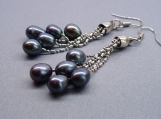 Black fresh water pearl earrings