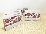 Five Mini Thank You Note Cards - Cream with Red Flowers