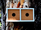 Mid Century Modern Twin Redwood Birdhouse