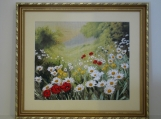 Ribbon Embroidery Wall Art - Filed Flowers - Framed