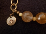 Bronze Bracelet with Quartz Faceted Stones and Cat's Eye Stones