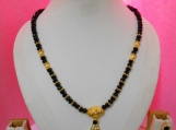 Designer Black crystal beads&Metal work Necklaceset Handmade